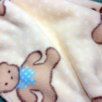 Baby Blanket Yellow Polka Dot Soft Fleece with Teddy Bears Handmade