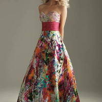 2011 Prom Dresses! Night Moves Colorful Beaded Strapless Gown - Size 0-18 - Unique Vintage - Bridesmaid & Wedding Dresses