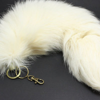 Thick Arctic Fox Tail Key Chain,  White Fox tail Keychain  16-20 inches long