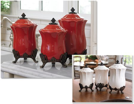 Elegant kitchen canisters marche de fleurs kitchen canister set pretty pretty old dutch for Kitchen set elegant