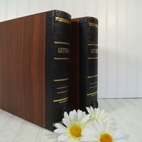 Vintage Amberg Letter Library Expanding File Folders Set - Retro Eclipse Book Style Wood Look CardBoard Latching Boxes with Alpha Separators