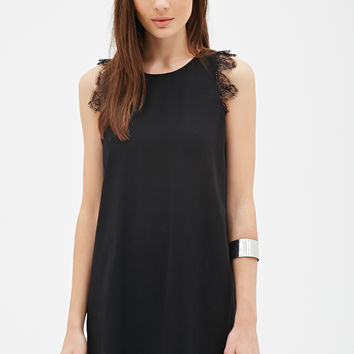 FOREVER 21 Lace-Trimmed Shift Dress