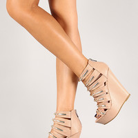 Strappy Leatherette Open Toe Wedge