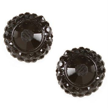 Black Gem Stone Stud Earrings