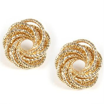 Gold Coiled Stud Earrings