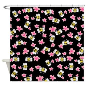 Bee Happy Floral Shower Curtain> Shower Curtains> SpiceTree Gift Shop