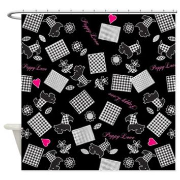 Puppy Dog Love Terrier Shower Curtain> Shower Curtains> SpiceTree Gift Shop
