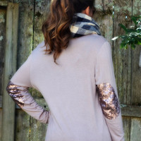 Bronze Beauty Taupe Sequin Elbow Maxi Cardigan