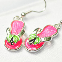Hot pink palm tree flip flip sparkle earrings