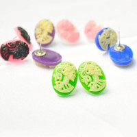 Neon Lolita Cameo postback earrings skull halloween