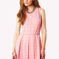 Lashay Gingham Sleeveless Skater Dress in Pink
