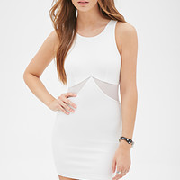 FOREVER 21 Mesh-Paneled Bodycon Dress White