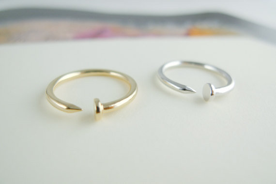 Nail ring CHOOSE ONE gold / silver  size 5 - 9 us