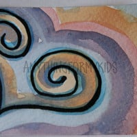 ACEO Original Pastel Swirl Watercolor - With All My Heart Series 7