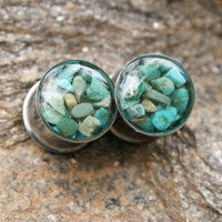 Turquoise Plugs made with real turquoise chips custom size 00g, 7/16g, 1/2g, 9/16g, 5/8, 3/4g, 7/8g, 1&quot;