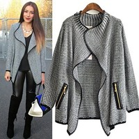 Leshery New Women Batwing Sleeve Knitted Cardigan Loose Casual Sweater Lady Jacket Coat (L)