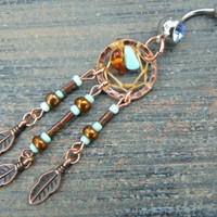 fall dreamcatcher  belly ring turquoise  amber copper czech beads cuff in tribal  boho gypsy hippie hipster native and tribal fusion
