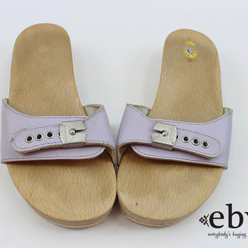 Vintage 70s Lavender Leather Dr. Scholls Flats 9 Dr. Scholls Shoes size 9 Wooden Shoes Exercise Sandals 70s Flats 70s Sandals Leather Flats