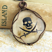 Pirate Pendant - Black and Tan Jolly Roger Glass Cabochon - Pirate Jewelry - Made to Order