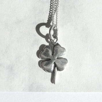 Sterling Silver Shamrock Necklace, Little Sterling Silver Necklace, Shamrock Pendant Silver Charm Four-Leaf Clover, Everyday Jewelry, Artida