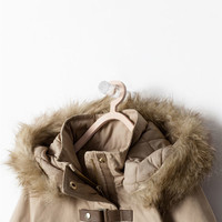 Parka with leather details