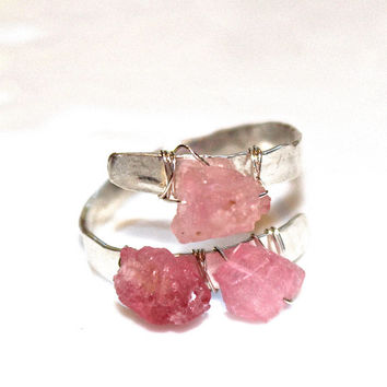Rustic Pink Tourmaline Ring Modern Ring Three Stone Ring Tourmaline Nugget Ring Silver Ring Adjustable Ring Tourmaline Jewelry Delicate Ring