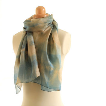 Teal Blue Green and Gold Brown Shibori naturally dyed long shawl, silk scarf dyed with walnut and  overdyed with indigo