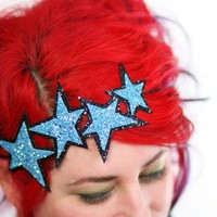 Blue Stars Headband, Glitter, Aqua .. on Luulla