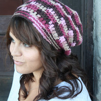 Slouchy Beanie, Crochet Slouch Hat, Fall Fashion, Pink and Brown