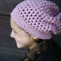 Crochet Slouch Beanie- Pink Heather