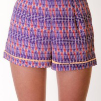 PURPLE TRIBAL CONTRAST PIPING SHORTS @ KiwiLook fashion