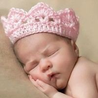 Foxnovo Cute Newborn Infant Baby Girl Boy Handmade Crochet Knit Crown Hat