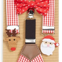 Infant Mud Pie 'Santa' Bow Tie & Suspenders