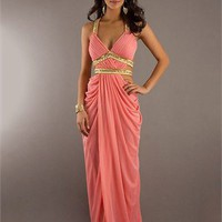 Column Halter Deep V-neck Crossed Back with Beadings Pleated Chiffon Long Prom Dress PD1949
