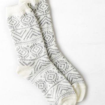 AEO Women's Fair Isle Crew Sock (Light Heather Grey)