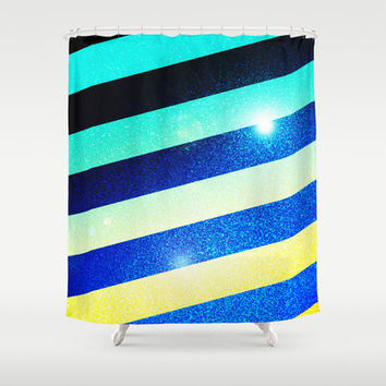 Striped Colorful Glitter Shower Curtain by Nicklas Gustafsson