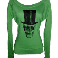 Green Boat Neck Long Sleeve Vintage Image Skull with Top Hat Top M/L
