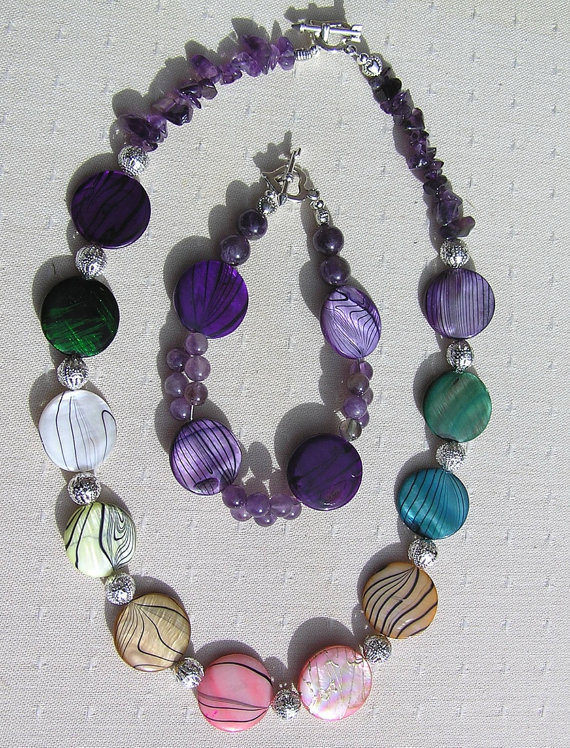 Necklace &amp; Bracelet Set - Mother of Pearl and Amethyst Gemstone  - &quot;Rainbow Fantasia&quot;