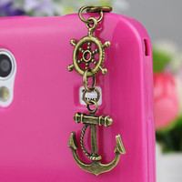 3.5mm Retro Bronze Anchor And Helmsman Dust-proof Plug  for iphone 4s,iPhone 4,iPhone 3gs,iPod Touch 4,HTC,Nokai,Samsung,Sony