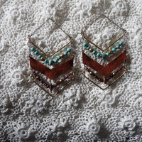 Chevron Love with Leather/Turquoise/Garnets