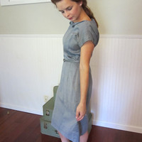 In The Blue Of The Evening - gorgeous 1940's chambray day dress