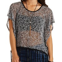 Fringe Trim Marled Poncho Top by Charlotte Russe - Black Combo