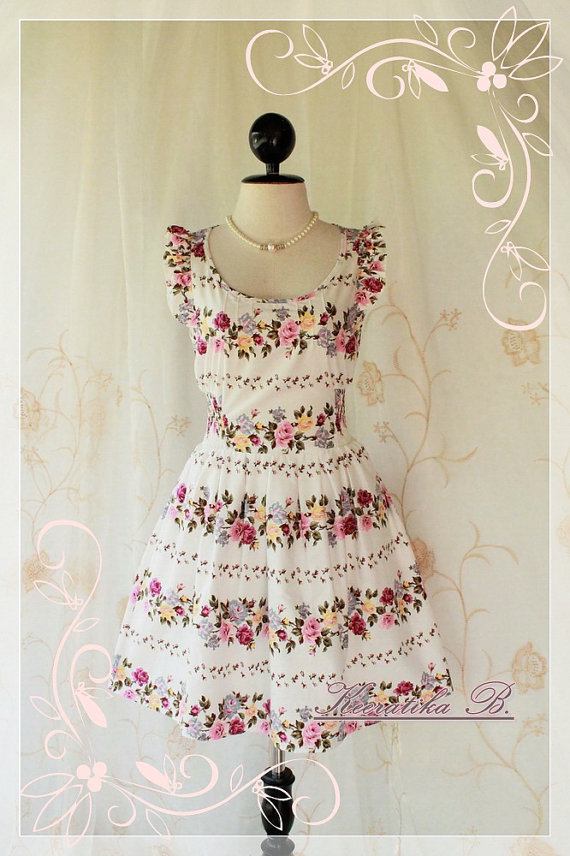 Nature Floral Garden - Sweet Beautiful Sundress White With Gorgeous Floral Print Loose Elastic Waist