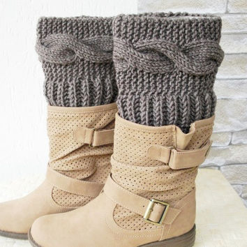 Boot Cuffs - Boot Socks Leg warmers Cable Knit    Legwarmers  Knit  Boot Cuffs - Boot Toppers - Winter Fall  Knit Accessories   Fashion