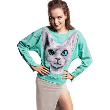 CrazyPomelo Women's Blue Eyes Cat Printed Cotton Pullover Shirt With Zipped Cuff