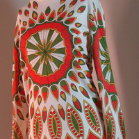 1960's Mod Shirt With Green and Orange Pattern