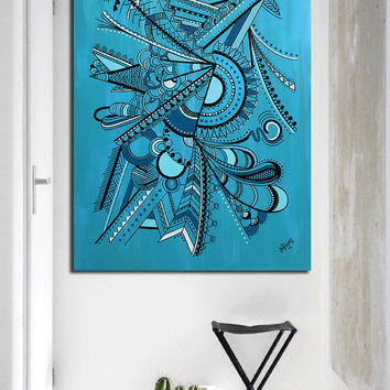"""Original abstract painting on canvas art. 30x40"""" Geometric with blue, turquoise. Big painting. Blue painting. Modern wall art. Acrylic."""