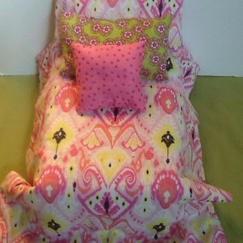 Doll Bedding - Comforter with pillows - light pink fabric - pink chevron - 18 inch doll - bed cover - doll  blanket - 4 pc bedding -