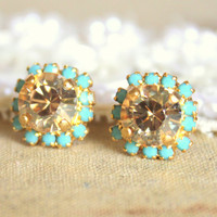 Crystal stud earring - 14k plated gold post earrings real swarovski rhinestones .