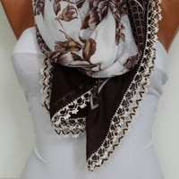 Anatolian Yemeni Shawl Scarf - Oya - Yemeni - Cowl Headband Necklace - Floral-Brown and White - Crochet edge- New